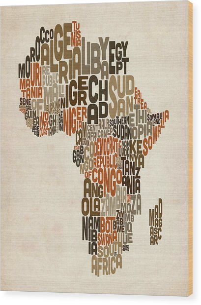 Typography Text Map Of Africa Wood Print