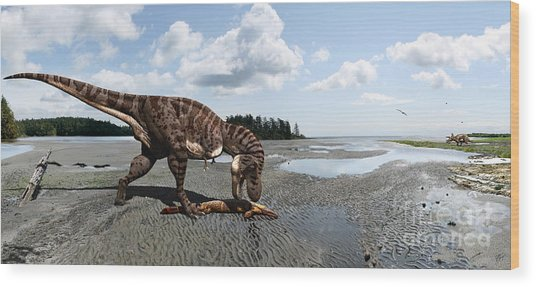 Tyrannosaurus Enjoying Seafood - Wide Format Wood Print