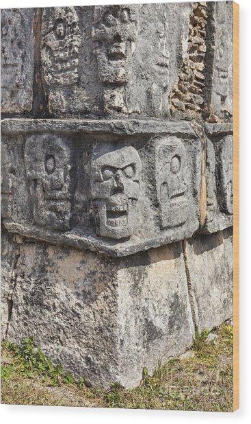 Tzompantli Or Platform Of The Skulls At Chichen Itza Wood Print