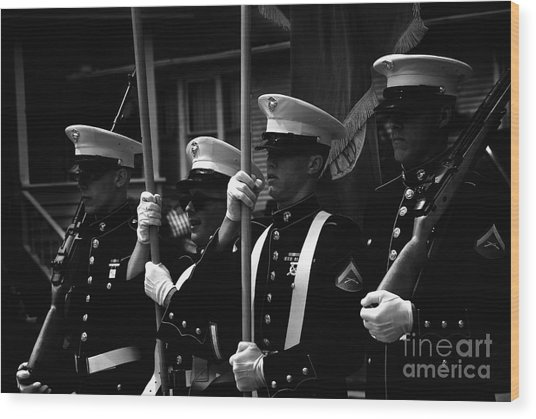 U. S. Marines - Monochrome Wood Print