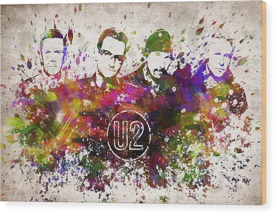 U2 In Color Wood Print