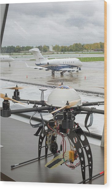 Uav Drone At An Airport Wood Print by Jim West