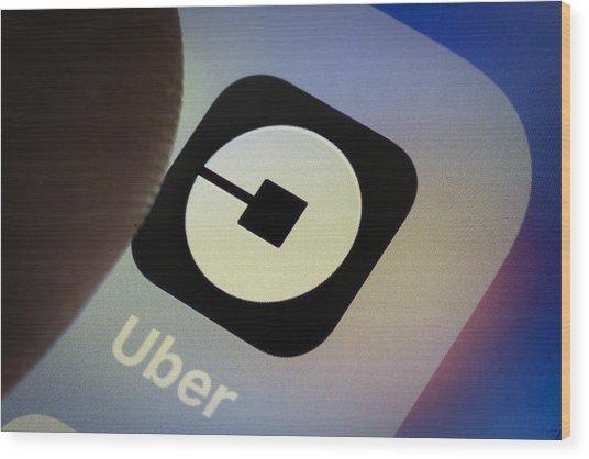 Uber App Wood Print by Thomas Trutschel
