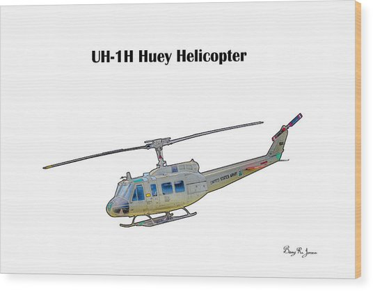 Uh-ih Huey Helicopter Wood Print