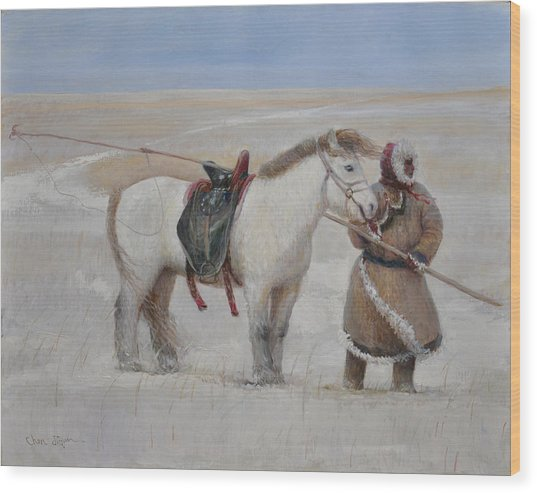 Ujumchin Herdsmen In Winter Pastures Wood Print