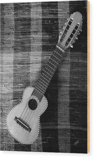 Ukulele Still Life In Black And White Wood Print