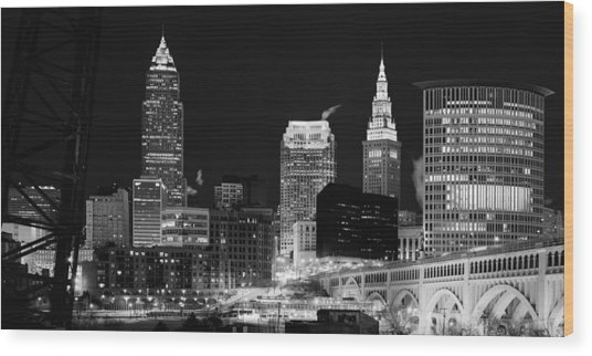 Ultra Rez Cleveland Black And White Wood Print