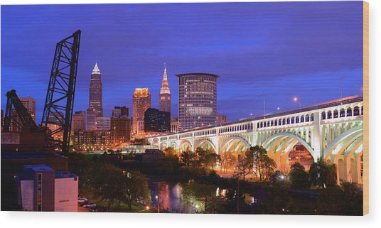 Ultra Rez Clevelands Best View Panorama  Wood Print