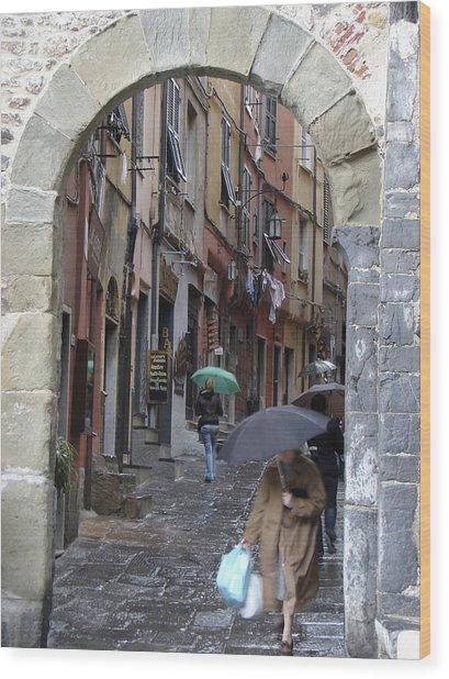 Umbrella Day Portovenere Italy Wood Print