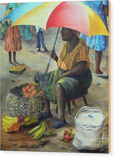 Umbrella Woman Wood Print