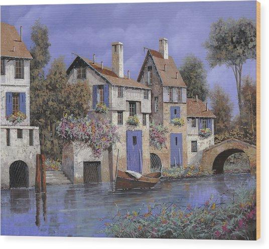 Un Borgo Tutto Blu Wood Print