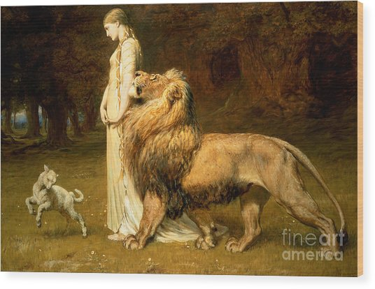Una And Lion From Spensers Faerie Queene Wood Print