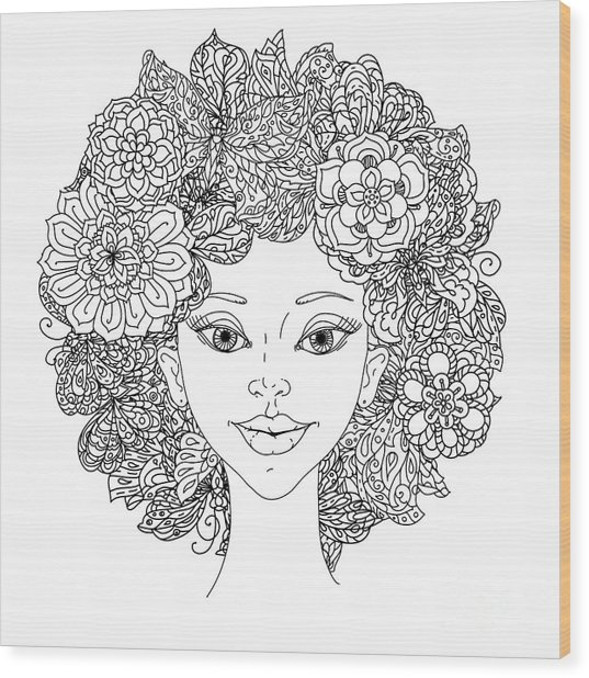 Uncolored Girlish Face For Adult Wood Print by Mashabr