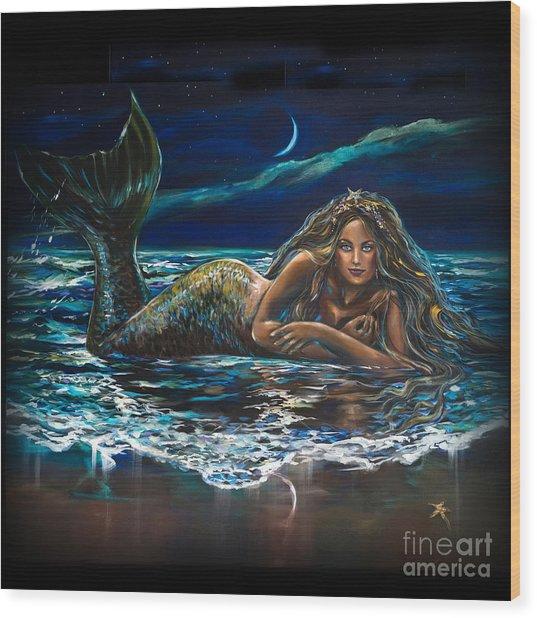 Under A Crescent Moon Mermaid Pillow Wood Print