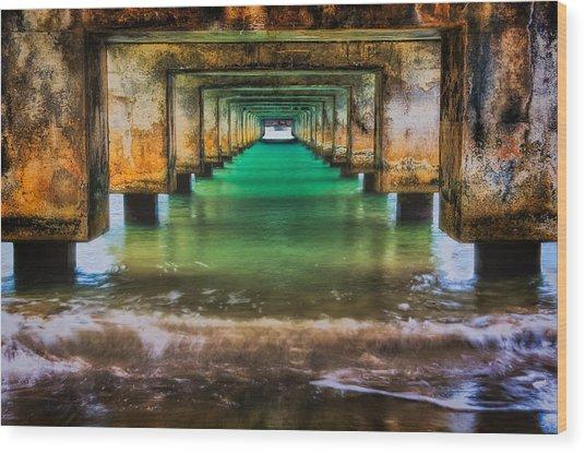 Under Hanalei Pier Wood Print
