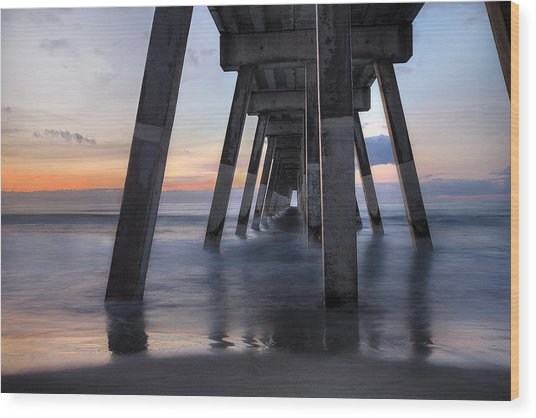 Under Johnnie Mercer's Pier Wrightsville Beach Nc Wood Print