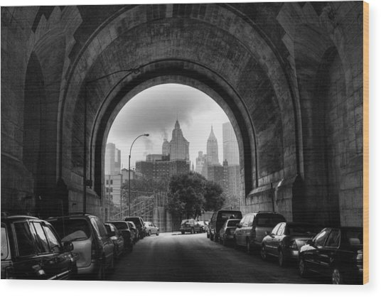 New York City - Manhattan Bridge - Under Wood Print