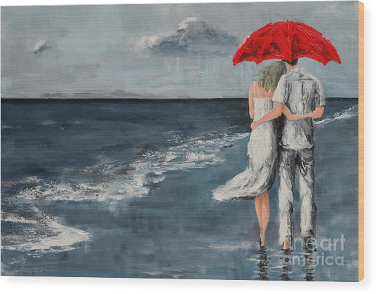 Under Our Umbrella - Modern Impressionistic Art - Romantic Scene Wood Print