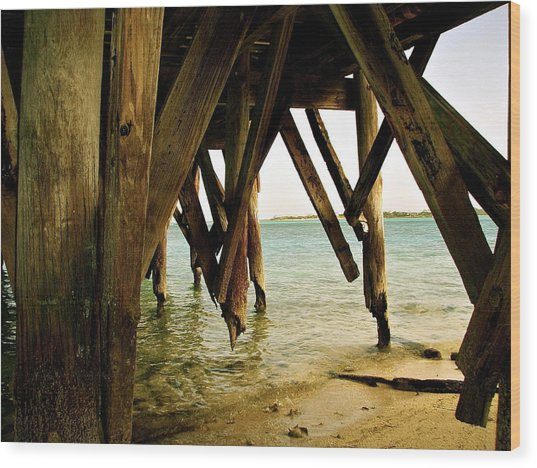 Under The Broke Dock Wood Print