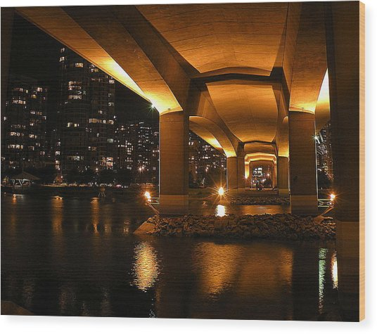 Under The Cambie Street Bridge Wood Print