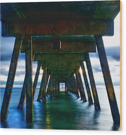 Under The Glenelg Jetty Wood Print