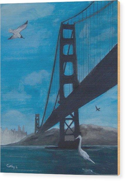 Under The Golden Gate Bridge Wood Print