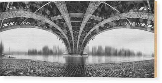 Under The Iron Bridge Wood Print by