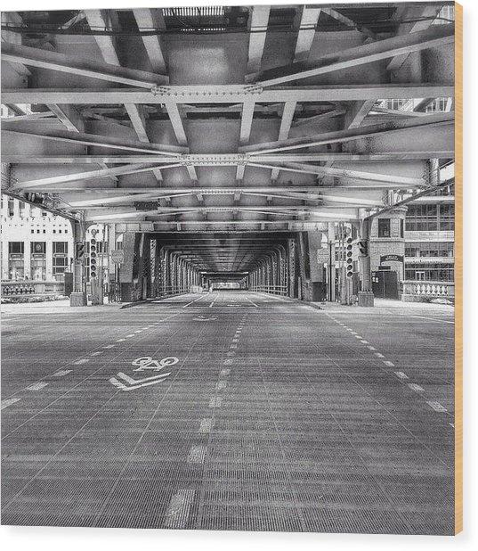 Chicago Wells Street Bridge Photo Wood Print