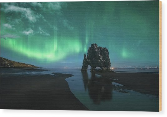Under The Northern Lights Wood Print