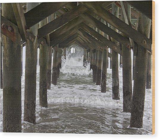 Under The Pawleys Island Pier Wood Print