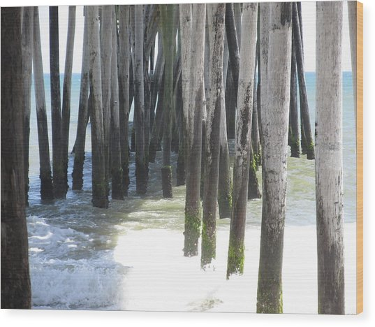 Under The Pier Wood Print by Cheryl Smith