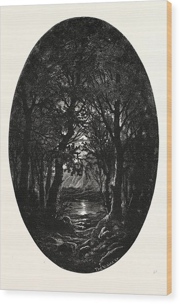 Under The Silver Full-moonlight Shimmereth White The Lake Wood Print