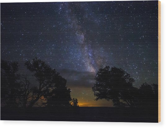 Under The Stars At The Grand Canyon  Wood Print