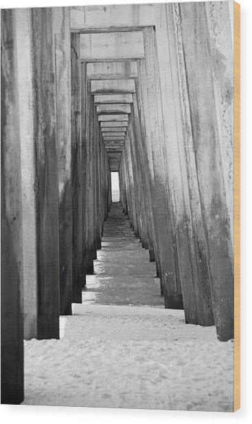 Under The The Pier Wood Print by Thomas Fouch