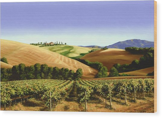 Under The Tuscan Sky Wood Print