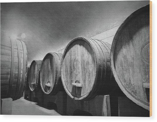Underground Wine Cellar With Wooden Wood Print