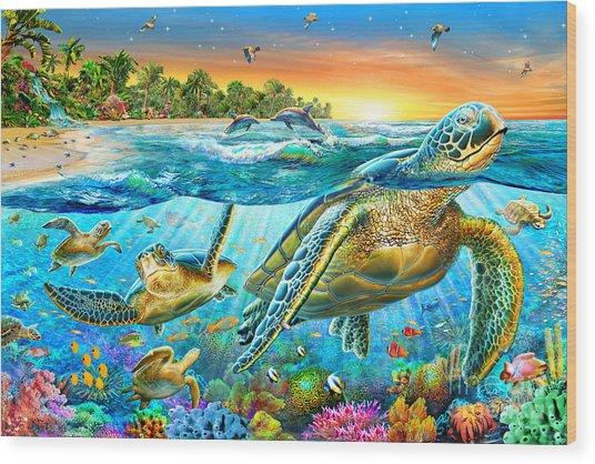 Underwater Turtles Wood Print