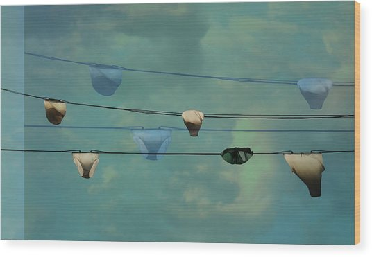 Underwear On A Washing Line  Wood Print