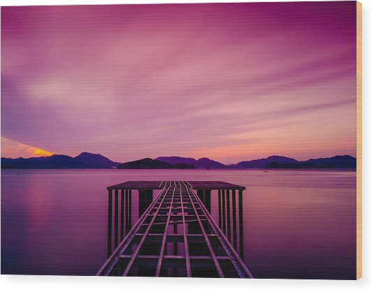 Unfinished Pier At Sunset Wood Print
