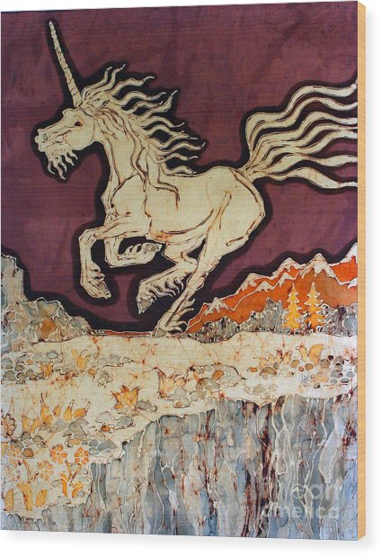 Unicorn Above Chasm Wood Print