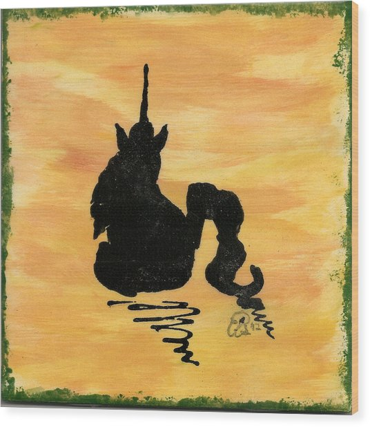 Unicorn At Rest Wood Print by Gail Schmiedlin