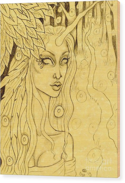 Unicorn In The Woods Sketch Wood Print by Coriander  Shea