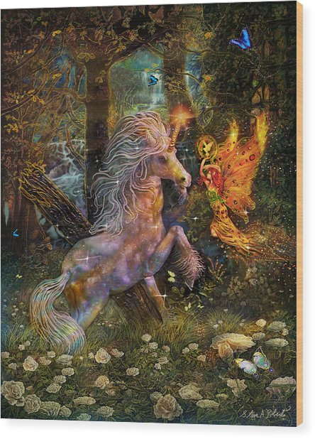 Unicorn King-angel Tarot Card Wood Print