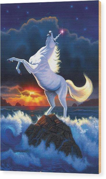 Unicorn Raging Sea Wood Print