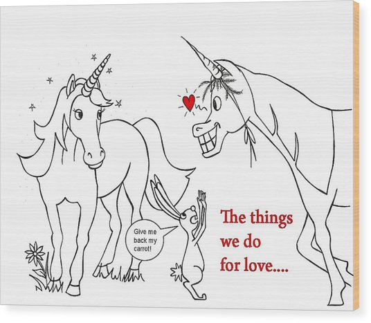 Unicorn Valentines Card Wood Print