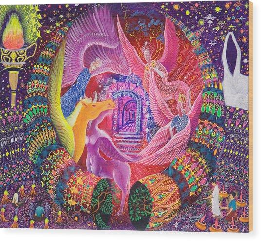Wood Print featuring the painting Unicornio Dorado by Pablo Amaringo