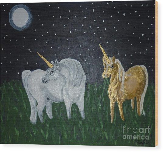 Unicorns For Julie Wood Print