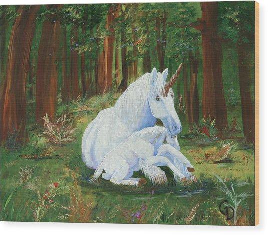 Unicorns Lap Wood Print