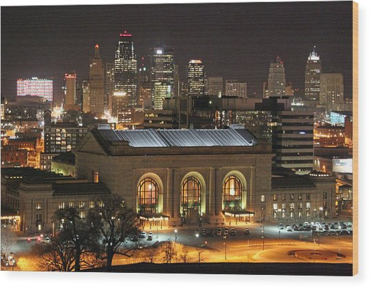 Union Station At Night Wood Print