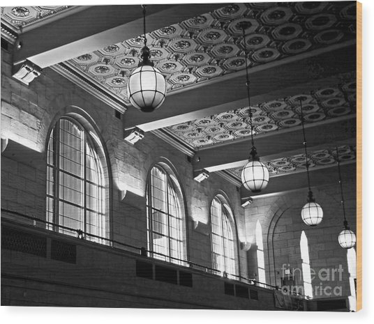 Union Station Balcony - New Haven Wood Print